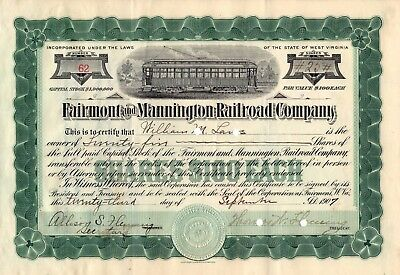 Rare - Fairmont And Mannington Railroad Company  - Stock Certificate - 1907