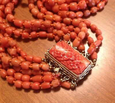 "Victorian 20"" Multi Strand Coral Bead Necklace 14k Carved Coral Flower Clasp 90g"