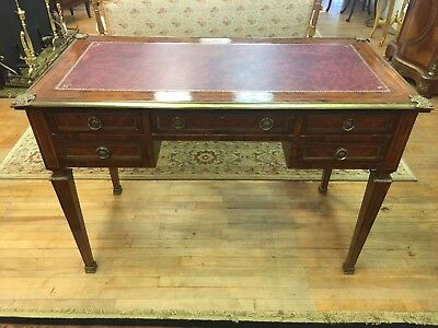 Vintage Inlay French Writing Desk with Brass Ormolu