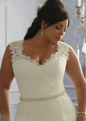 White-Ivory-Tulle-Lace-Beads-Bridal-Gown-Wedding-Dress-Stock-Plus-Size-14W-26W
