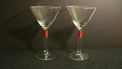 """Beefeater Gin 6 3/4"""" Martini Glasses w/ Red Bands - 2"""