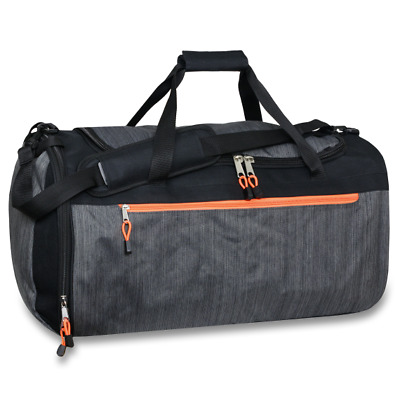 Lot of 12 Wholesale 24 Inch Heather Gray Duffle Bag with Large Zippers & Padding