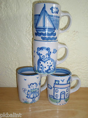 M A Hadley Mugs Girl House Dog & Boat  ~Mixed Lot of Four ~ Excellent Condition
