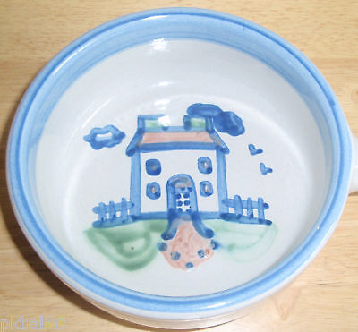 M A Hadley Serving Bowl With Handle ~ House Country Scene