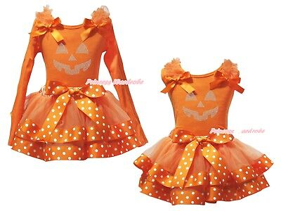 Pumpkin Face Orange Top Orange White Dots Satin Trim Skirt Girl Outfit Set NB-8Y