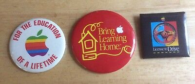 *rare* lot of 3 ~APPLE~ vintage pinback pins LICENSE TO DRIVE + EDUCATION