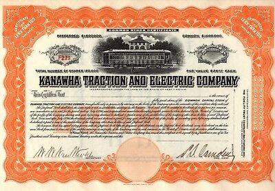 Rare - Kanawha Traction And Electric Company Stock Certificate - Unissued