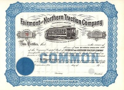 "Rare - Fairmont And Northern Traction  Company - ""unissued"" Stock Certificate"