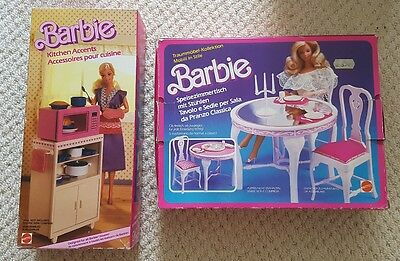 2 x Retro Barbie Kitchen and Dining Sets