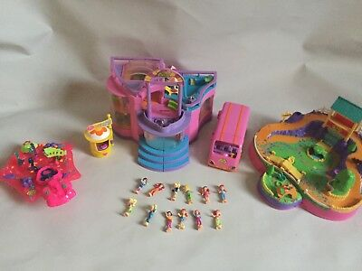 Vintage 1998 99 Polly Pocket Concert Hall Tour Bus Mermaids Figures Set Bundle