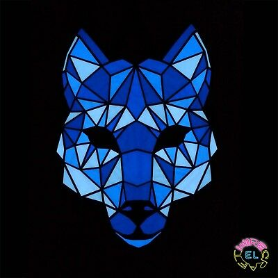 Glowing Blue Animal Mask - Carnival Festival - Sound Activated - With Driver