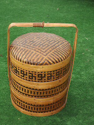 Fabulous Vintage Chinese Bamboo and Rattan Three Tier Work Sewing Hobby Basket