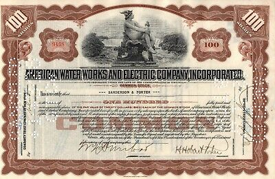 American Water Works And Electric Company, Inc. Stock Certificate - Brown