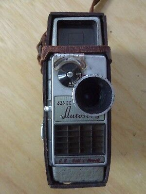 Vintage G.B. BELL & HOWELL 624 EE 8mm Cine Camera & original Leather Case
