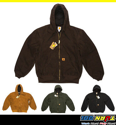 Carhartt J130 Mens Sandstone Duck Active Hood Jacket Quilted Flannel Lined M~5Xl