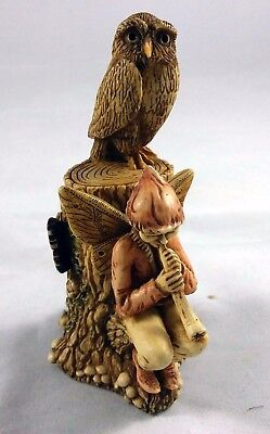 Harmony Kingdom: Owl And Boy Fairy Piper- Perswee (The Piper)-Good Faerie
