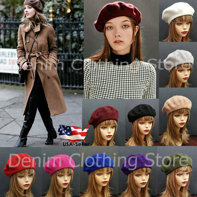 Women's Girl Warm Winter Baggy Classic French 100% Wool Fluffy Beanie Beret Hat
