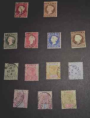Used Gambia 1880-1893. 13 Stamps.