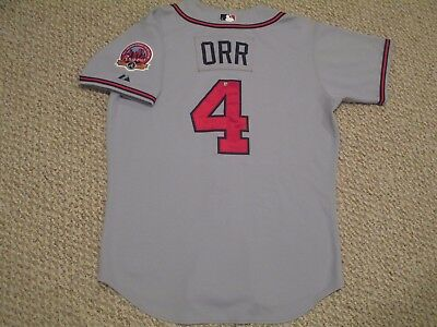 Pete Orr #4 sz 46 2006 Road Gray Braves game used jersey 30 Anniversary Atlanta