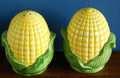 A pair of Corn on the Cob salt / pepper cruets