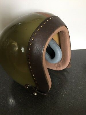 Vintage Cold War Leather And Green Military Style Pilots Helmet Aircraft