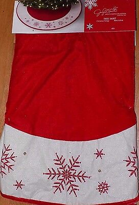"NEW - 48"" Red White Snowflake Christmas Tree Skirt - NWT - FREE SHIPPING"
