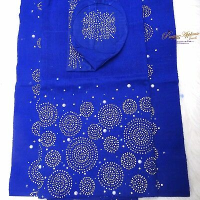 Celebrant Royal Blue Stoned Aso Oke Gele Ipele Men Fila Cap Veil Bridal Set LOT