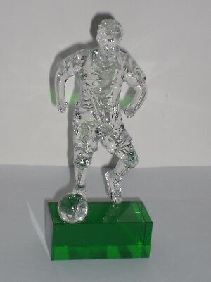 Footballer's Xmas Gift Or Trophy Optical Crystal Figurine , Engraved Free