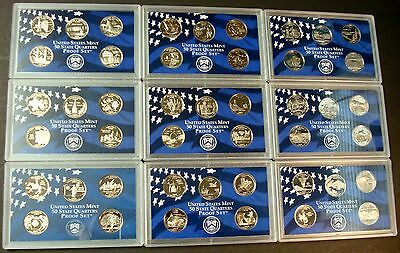 1999-S <> 2008-S  Complete Fifty (50) Proof State Quarters In Ten Set Holders