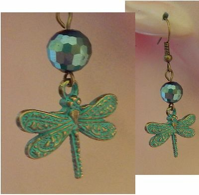 Green & Gold Dragonfly Charm Drop/Dangle Earrings Handmade Jewelry NEW Fashion