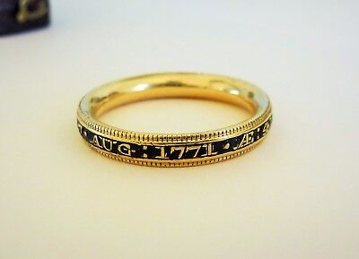 Antique Fine Georgian Gold Mourning Ring Dated 1771 .....246 Years Old !!!