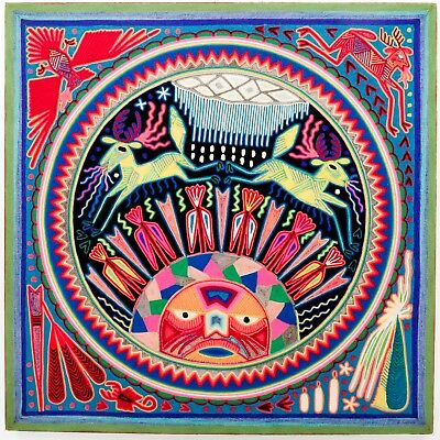 "LARGE HUICHOL YARN PAINTING Wixaritari Original Mexican Folk Art 24"" x 24"""