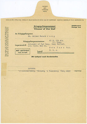 Kriegsgefangenenpost Umschlag Camp Forrest New York USA Hamburg Brief Dokument
