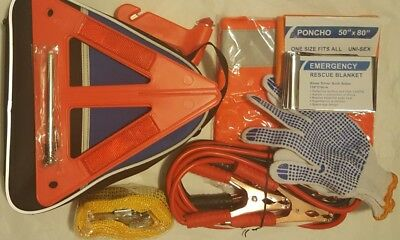 Roadside Emergency Kit -Jumper Cables, Towing Strap, Tire Gauge & More