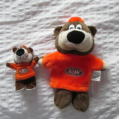 A&W ROOTBEER ROOT BEER BEAR PLUSH doll hand puppet + mini beanbag lot 2 A W