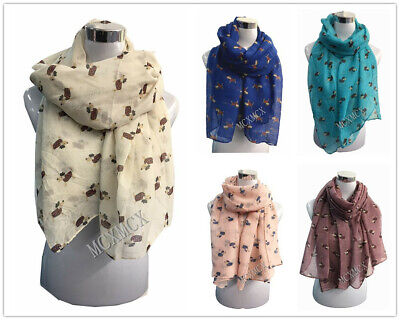 Women Ladies Long Fashion Cat/Dog Paw Animal FootPrint Pattern Shawl Scarf Warp