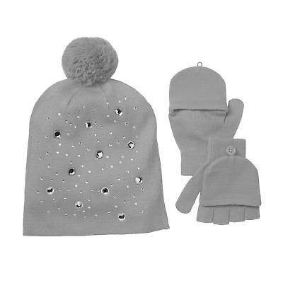 SO Girls Jewel Embellished Hat & Gloves / Convertible Mittens Set - Gray