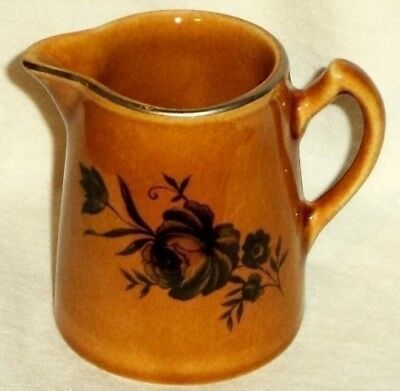 Elijah Cotton Lord Nelson Ware Pitcher Black Rose Caramel Staffordshire England