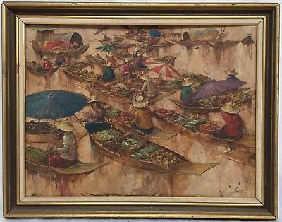 old Apirak Achavapichettham vintage Thai oil painting Thailand artist, Asian art