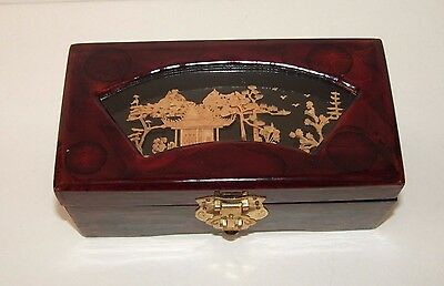 Vintage Lacquer Wood Jewelry Box w/ Cork Diorama & Glass Top Asian Design