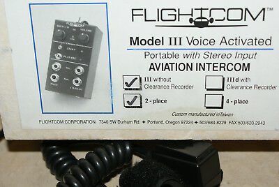 FlightCom III Voice Activated Aviation Intercom 2-place