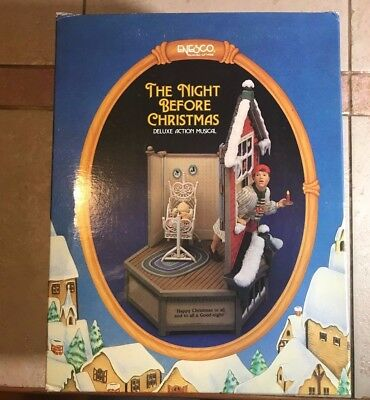 """NEW Enesco """"The Night Before Christmas"""" DELUXE ACTION MUSICAL 1987 VTG RARE"""