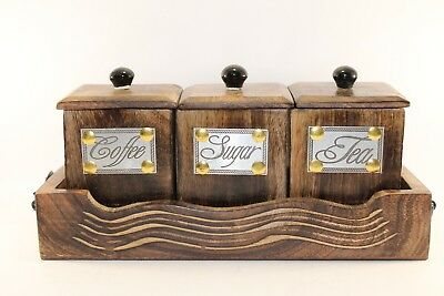 Wooden Handcrafted Container Set for Coffee, Tea, Sugar with Lid