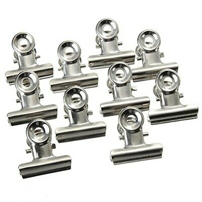 10x Grip Clips Bulldog Money Clip Letter Binder Paper Clamp Silver Chrome Metal