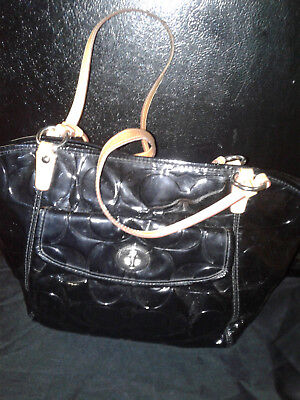 Coach Embossed Black Glossy Embossed Patent Leather Leah Tote Purse-14663