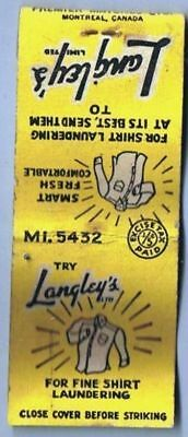 Montreal Canada Matchbook Cover Langleys Laundry Excise Paid PREMIER MATCH