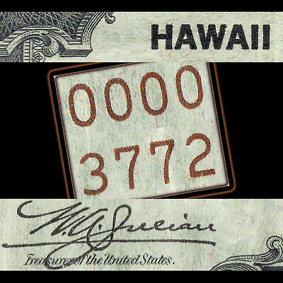 1935A $1 HAWAII * LOW 4 DIGIT * Serial 3 7 7 2 HISTORICAL BROWN SEAL; Star Offer