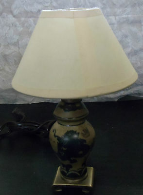 """Small Ceramic or Resin Base Electric Lamp with Shade Approximately 8"""" Dragon"""