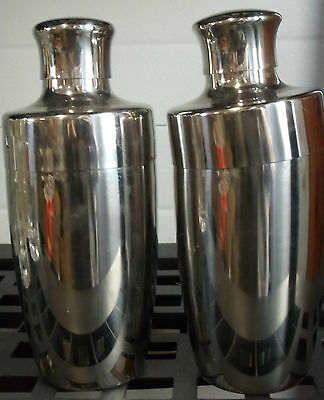 "Set of 2 Stainless Steel Martini Shakers 3-Piece Cocktail Mixers 8"" Stokes 18/8"