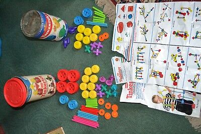 2 Partial Sets Of Plastic Jumbo Tinkertoy Construction Sets 70+ Pieces